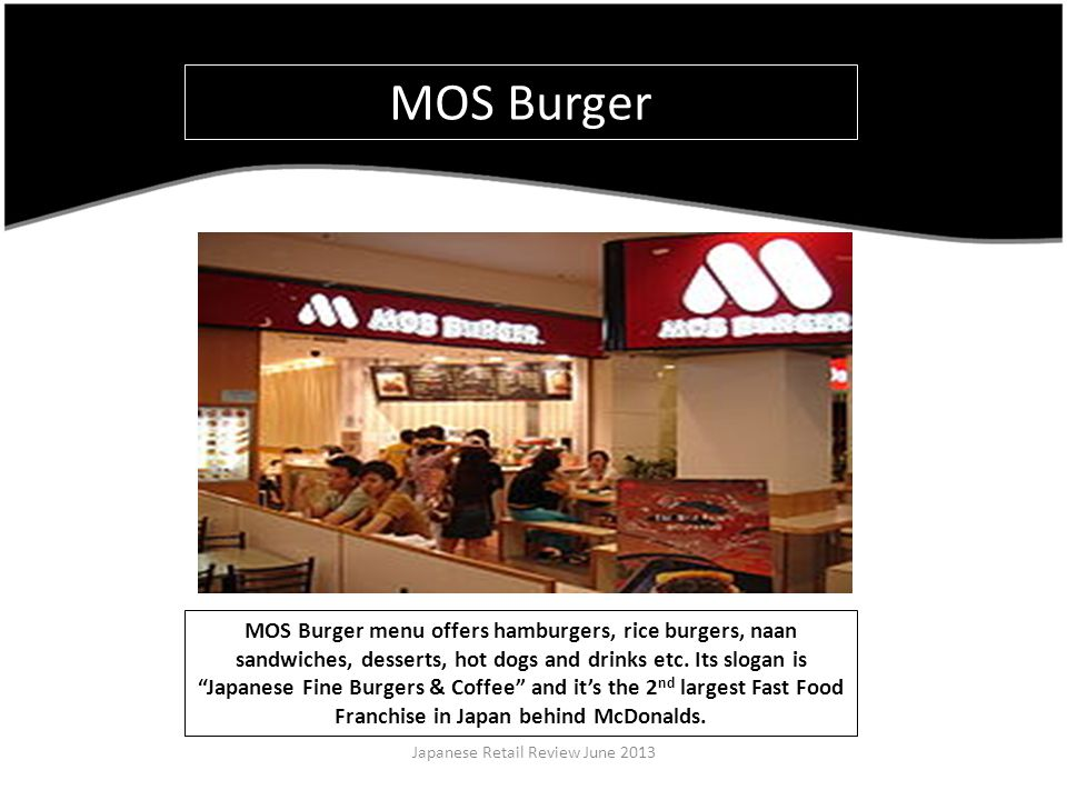MOS Burger menu offers hamburgers, rice burgers, naan sandwiches, desserts, hot dogs and drinks etc.