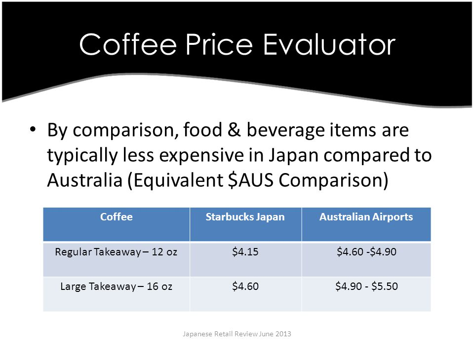 Coffee Price Evaluator Japanese Retail Review June 2013 By comparison, food & beverage items are typically less expensive in Japan compared to Australia (Equivalent $AUS Comparison) CoffeeStarbucks JapanAustralian Airports Regular Takeaway – 12 oz$4.15$4.60 -$4.90 Large Takeaway – 16 oz$4.60$4.90 - $5.50