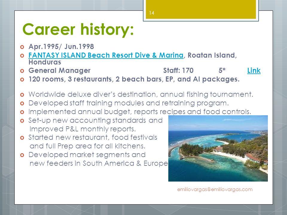 Career history: Apr.1995/ Jun.1998 FANTASY ISLAND Beach Resort Dive & Marina, Roatan Island, Honduras FANTASY ISLAND Beach Resort Dive & Marina Genera