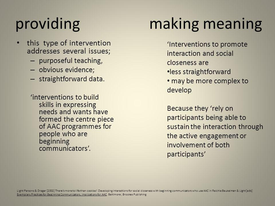 providing this type of intervention addresses several issues; – purposeful teaching, – obvious evidence; – straightforward data. interventions to buil