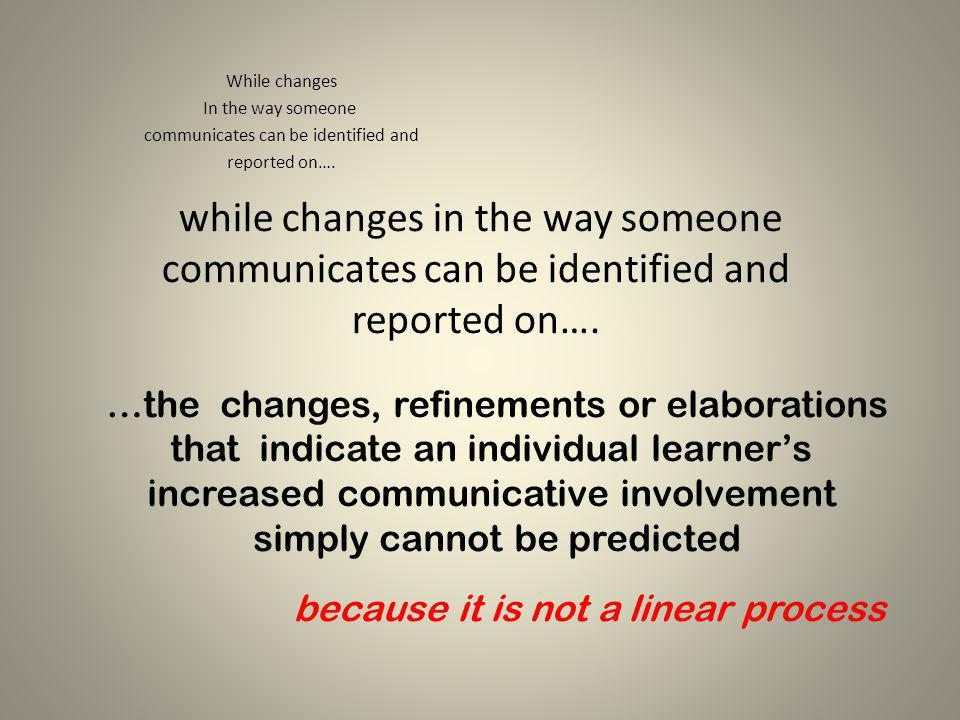 while changes in the way someone communicates can be identified and reported on…. While changes In the way someone communicates can be identified and