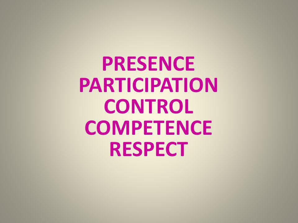 PRESENCE PARTICIPATION CONTROL COMPETENCE RESPECT