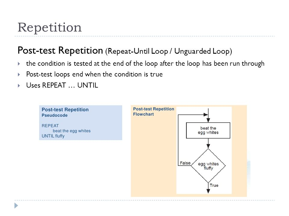 Repetition Post-test Repetition (Repeat-Until Loop / Unguarded Loop) the condition is tested at the end of the loop after the loop has been run throug