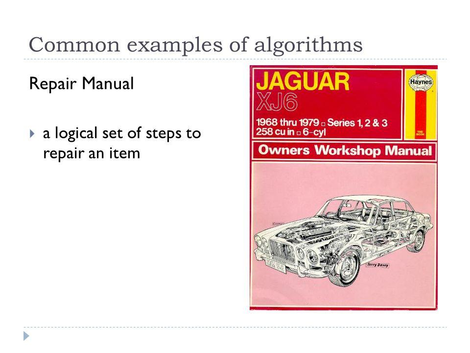 Common examples of algorithms Repair Manual a logical set of steps to repair an item