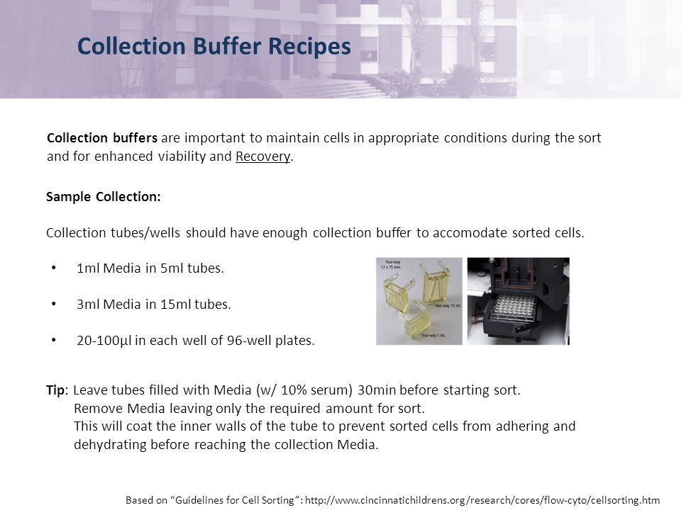 Collection Buffer Recipes Collection buffers are important to maintain cells in appropriate conditions during the sort and for enhanced viability and Recovery.