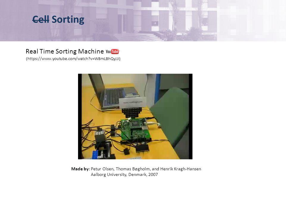 Cell Sorting (https://www.youtube.com/watch v=W8mLBhQyJJI) Real Time Sorting Machine Made by: Petur Olsen, Thomas Bøgholm, and Henrik Kragh-Hansen Aalborg University, Denmark, 2007
