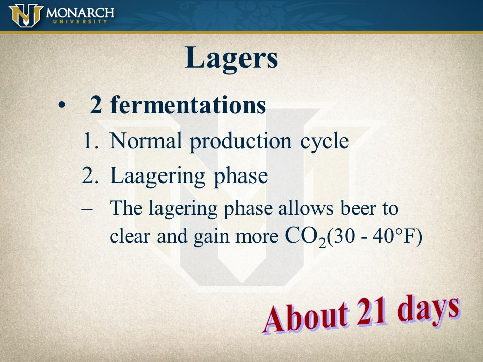 Lagers Bottom-fermenting yeast Lower fermentation temperature (45° - 55°F) Longer production time (vs. ales) Lager means to store in German Over 82% o