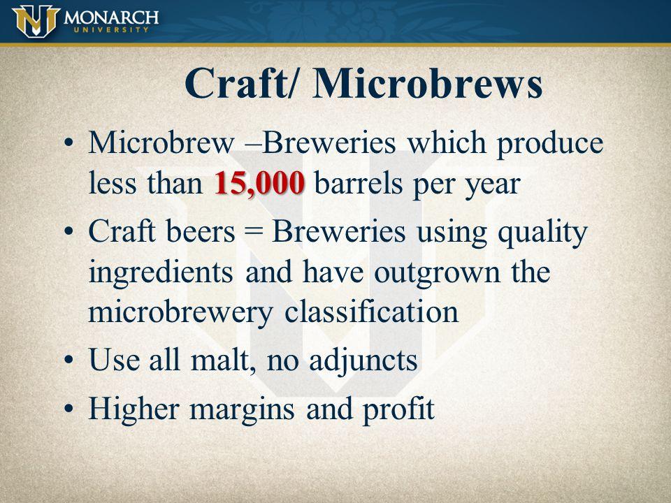 Craft/ Microbrews Import FMB/ RTD/ PAB Premium Near-Premium Below-Premium *Low cal/ Low carb. Malt Liquor Cider Non-alcoholic