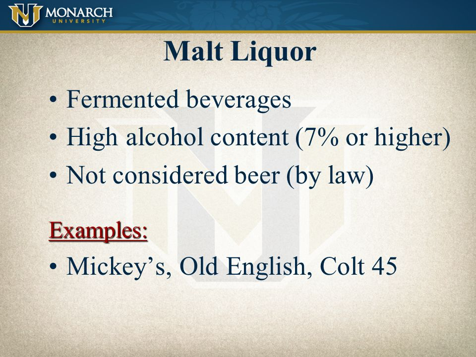 Low Cal – Low Carb Created for the figure-conscious consumer Less flavor and aroma Fairly recent categoryExamples: MGD 64, Michelob Ultra