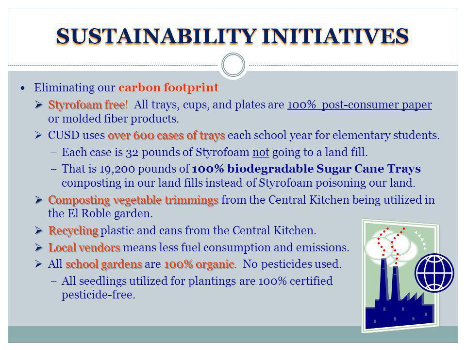 SUSTAINABILITY INITIATIVES Eliminating our carbon footprint Styrofoam free Styrofoam free.