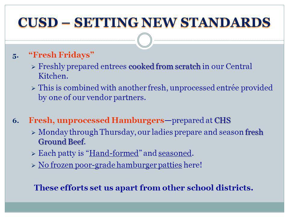 CUSD – SETTING NEW STANDARDS 5.