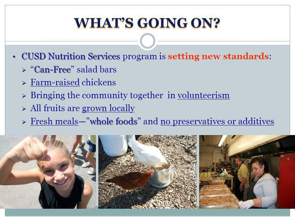 WHATS GOING ON? CUSD Nutrition Services CUSD Nutrition Services program is setting new standards: Can-FreeCan-Free salad bars Farm-raised chickens Bri