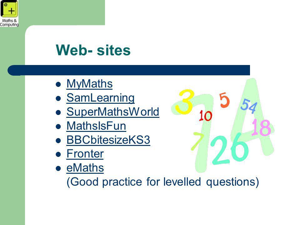 Web- sites MyMaths SamLearning SuperMathsWorld MathsIsFun BBCbitesizeKS3 Fronter eMathsMaths (Good practice for levelled questions)