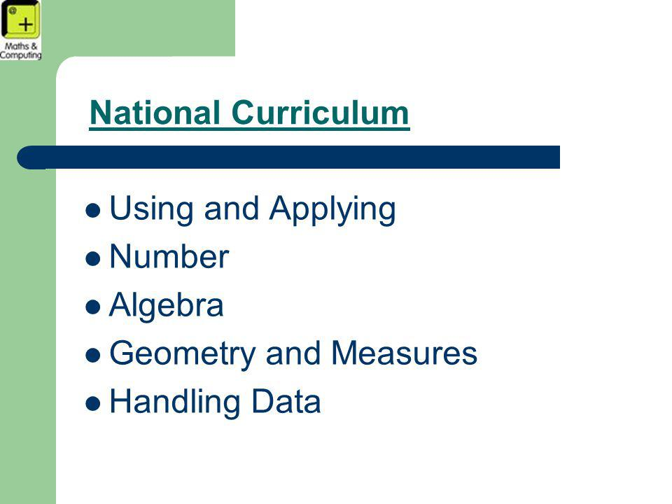 National Curriculum Using and Applying Number Algebra Geometry and Measures Handling Data