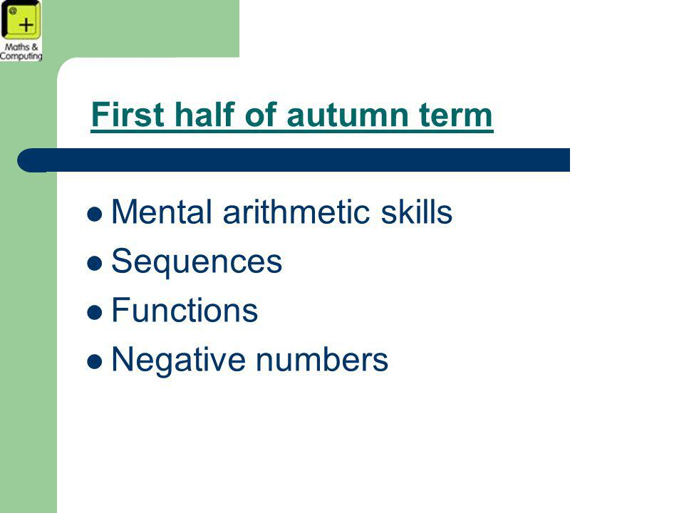 First half of autumn term Mental arithmetic skills Sequences Functions Negative numbers