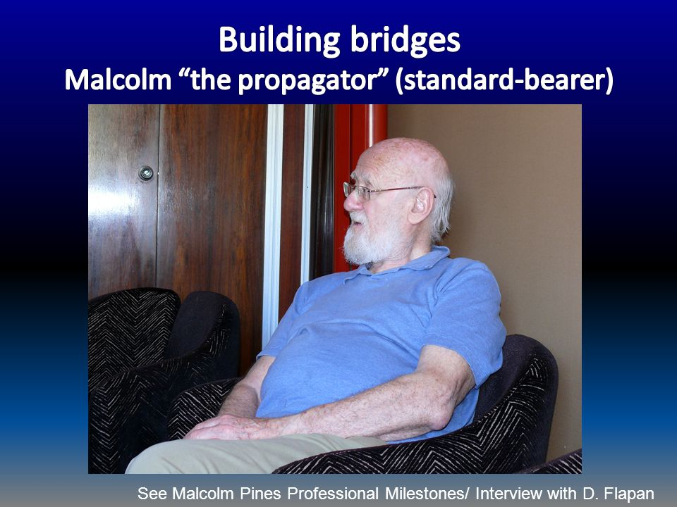 See Malcolm Pines Professional Milestones/ Interview with D. Flapan