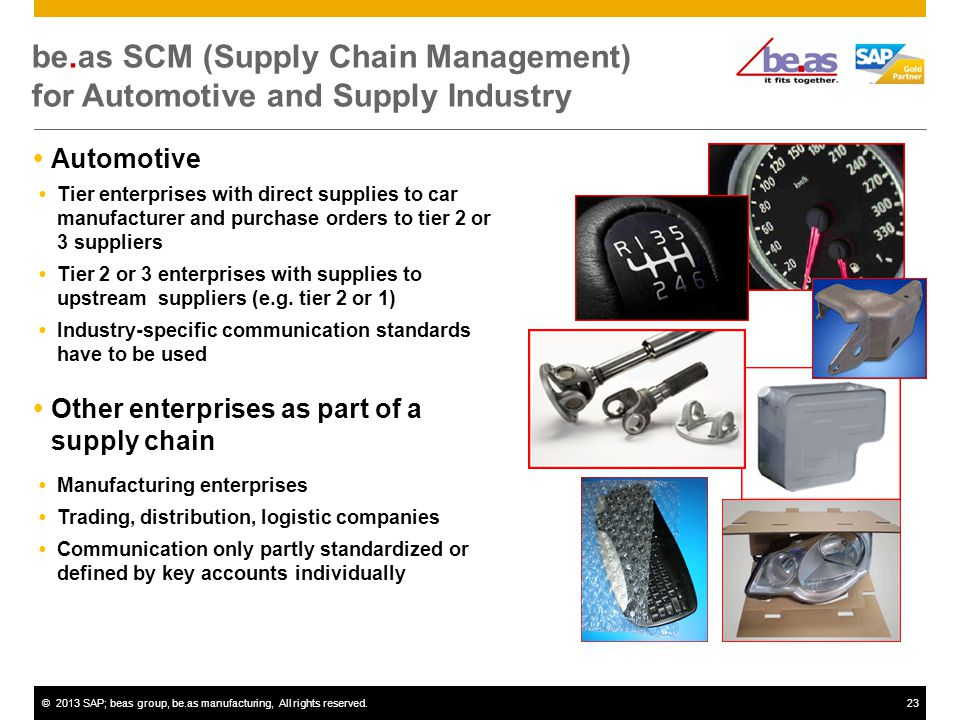©2013 SAP; beas group, be.as manufacturing, All rights reserved.23 be.as SCM (Supply Chain Management) for Automotive and Supply Industry Automotive Tier enterprises with direct supplies to car manufacturer and purchase orders to tier 2 or 3 suppliers Tier 2 or 3 enterprises with supplies to upstream suppliers (e.g.