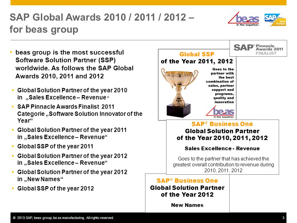 ©2013 SAP; beas group, be.as manufacturing, All rights reserved.3 3 beas group is the most successful Software Solution Partner (SSP) worldwide.