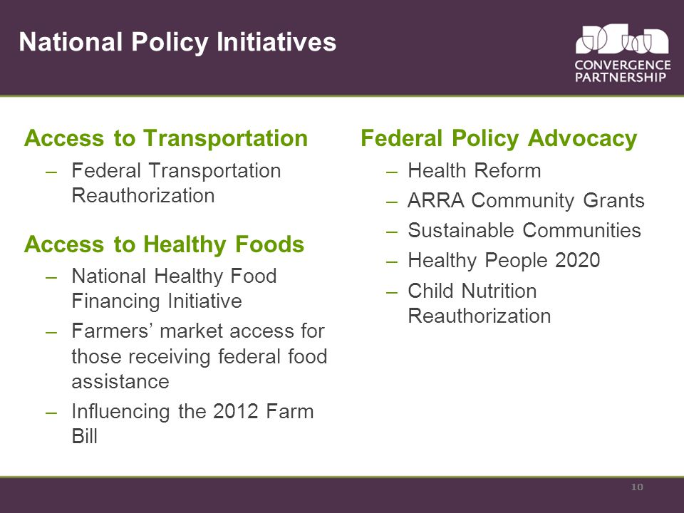 National Policy Initiatives Access to Transportation –Federal Transportation Reauthorization Access to Healthy Foods –National Healthy Food Financing Initiative –Farmers market access for those receiving federal food assistance –Influencing the 2012 Farm Bill Federal Policy Advocacy –Health Reform –ARRA Community Grants –Sustainable Communities –Healthy People 2020 –Child Nutrition Reauthorization 10