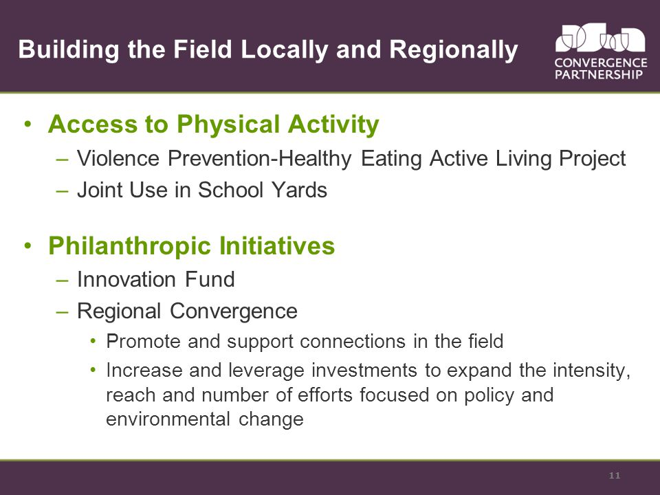 Building the Field Locally and Regionally Access to Physical Activity –Violence Prevention-Healthy Eating Active Living Project –Joint Use in School Yards Philanthropic Initiatives –Innovation Fund –Regional Convergence Promote and support connections in the field Increase and leverage investments to expand the intensity, reach and number of efforts focused on policy and environmental change 11