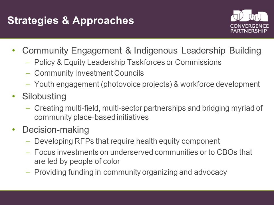 Strategies & Approaches Community Engagement & Indigenous Leadership Building –Policy & Equity Leadership Taskforces or Commissions –Community Investment Councils –Youth engagement (photovoice projects) & workforce development Silobusting –Creating multi-field, multi-sector partnerships and bridging myriad of community place-based initiatives Decision-making –Developing RFPs that require health equity component –Focus investments on underserved communities or to CBOs that are led by people of color –Providing funding in community organizing and advocacy