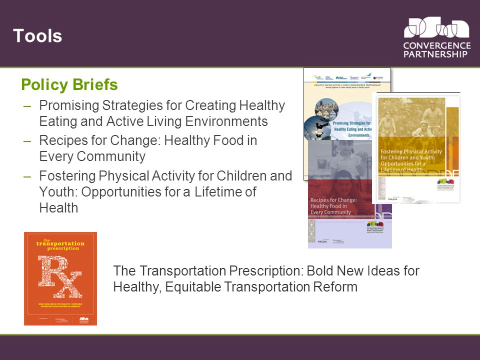 Tools Policy Briefs –Promising Strategies for Creating Healthy Eating and Active Living Environments –Recipes for Change: Healthy Food in Every Commun