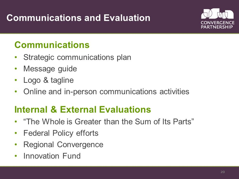 Communications and Evaluation Communications Strategic communications plan Message guide Logo & tagline Online and in-person communications activities