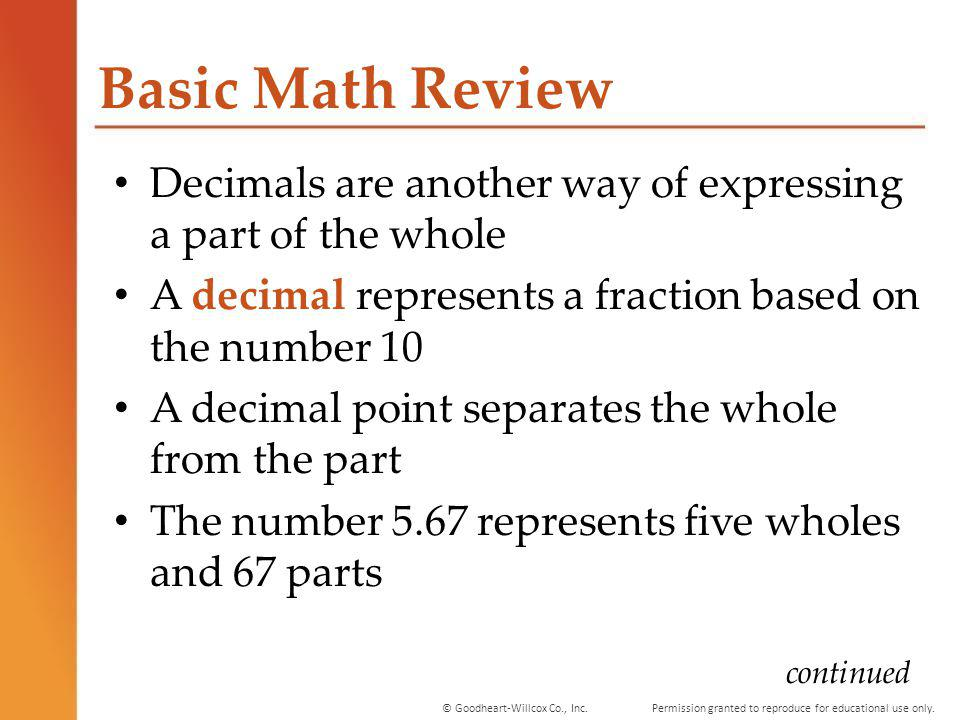 Permission granted to reproduce for educational use only.© Goodheart-Willcox Co., Inc. Basic Math Review Decimals are another way of expressing a part