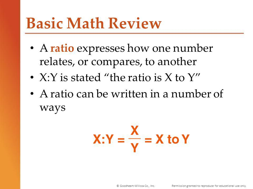 Permission granted to reproduce for educational use only.© Goodheart-Willcox Co., Inc. Basic Math Review A ratio expresses how one number relates, or