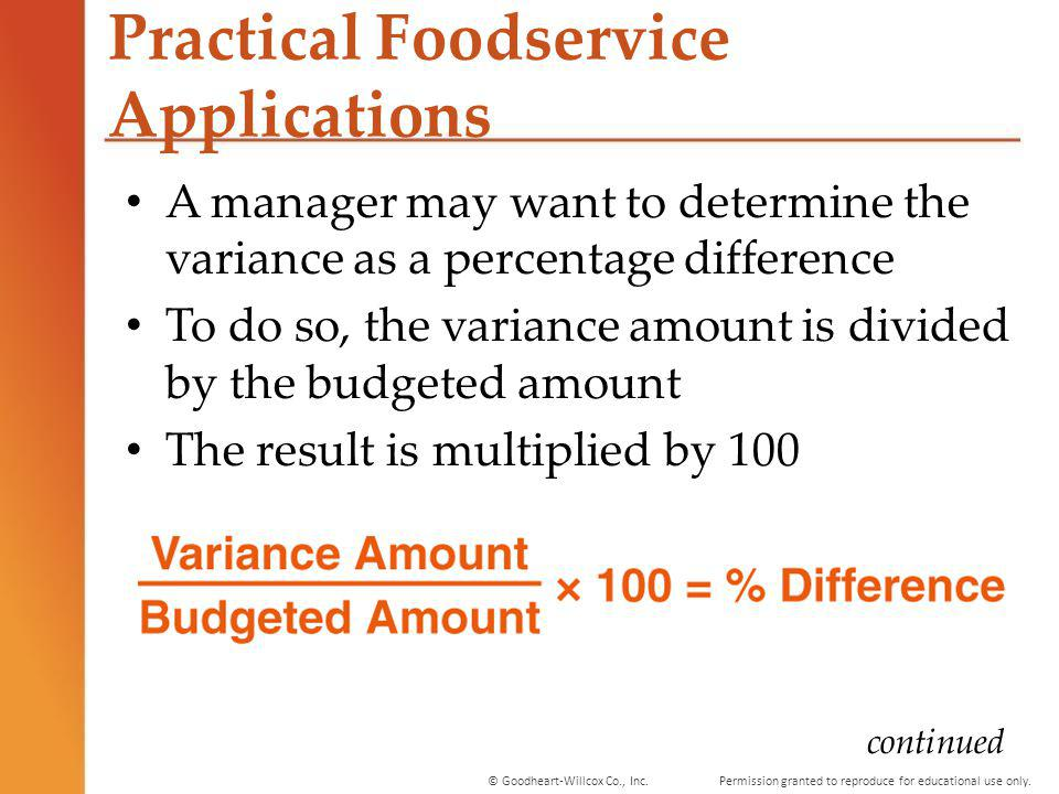 Permission granted to reproduce for educational use only.© Goodheart-Willcox Co., Inc. Practical Foodservice Applications A manager may want to determ