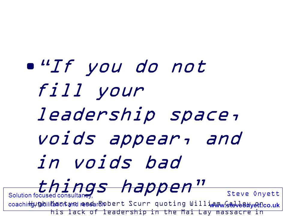 Steve Onyett www.steveonyett.co.uk Solution focused consultancy, coaching, facilitation and research If you do not fill your leadership space, voids a