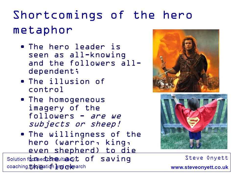 Steve Onyett www.steveonyett.co.uk Solution focused consultancy, coaching, facilitation and research Shortcomings of the hero metaphor The hero leader
