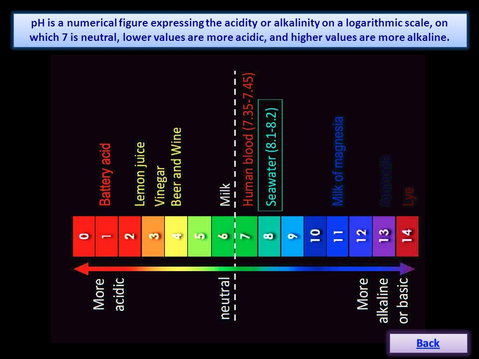 pH is a numerical figure expressing the acidity or alkalinity on a logarithmic scale, on which 7 is neutral, lower values are more acidic, and higher values are more alkaline.