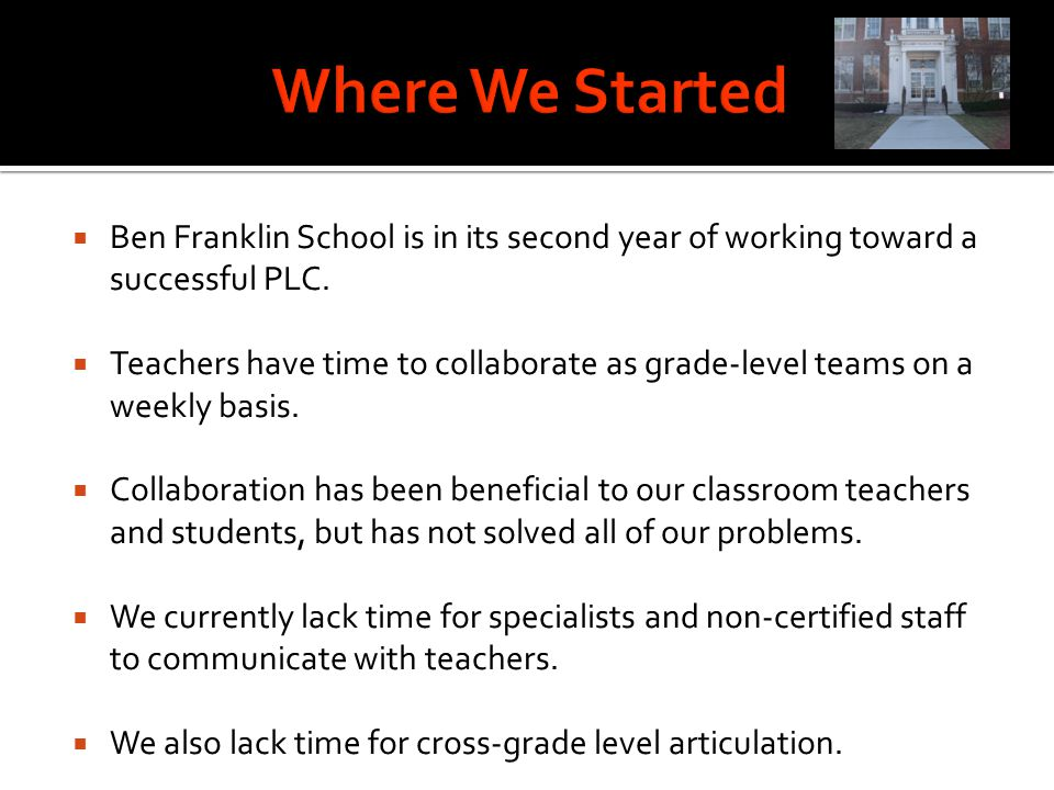 How can we extend the professional learning and collaboration being done by our PLC to effectively include all members of the staff, while incorporating the use of technology