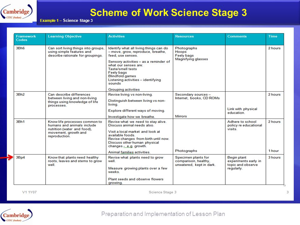 What to tell the parents about Check Point and Progression Tests Scheme of Work Science Stage 3 Preparation and Implementation of Lesson Plan Example