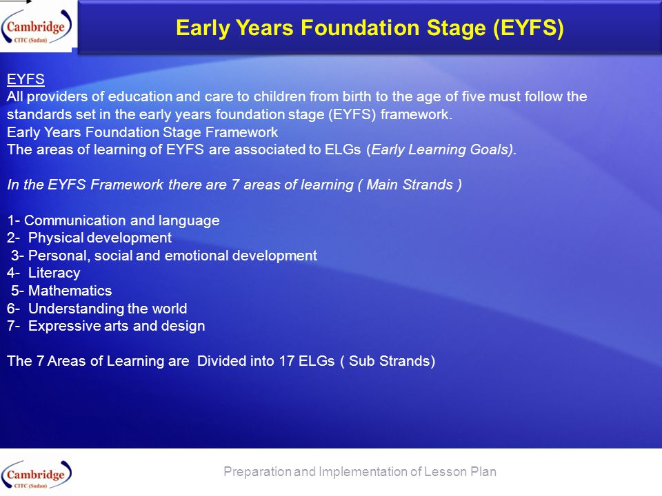 Early Years Foundation Stage (EYFS) Preparation and Implementation of Lesson Plan EYFS All providers of education and care to children from birth to t