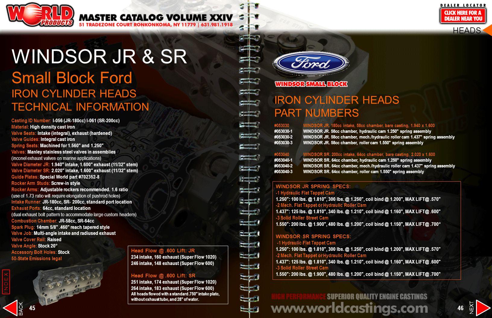 WINDSOR JR & SR Small Block Ford IRON CYLINDER HEADS TECHNICAL INFORMATION Casting ID Number: I-056 (JR-180cc) I-061 (SR-200cc) Material: High density