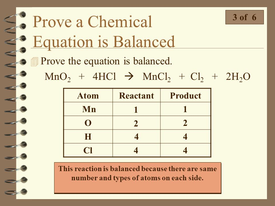 Prove a Chemical Equation is Balanced 2 of 6 4 Prove the equation is balanced. 2Na + Cl 2 2NaCl Remember, a balanced chemical equation has the same ty