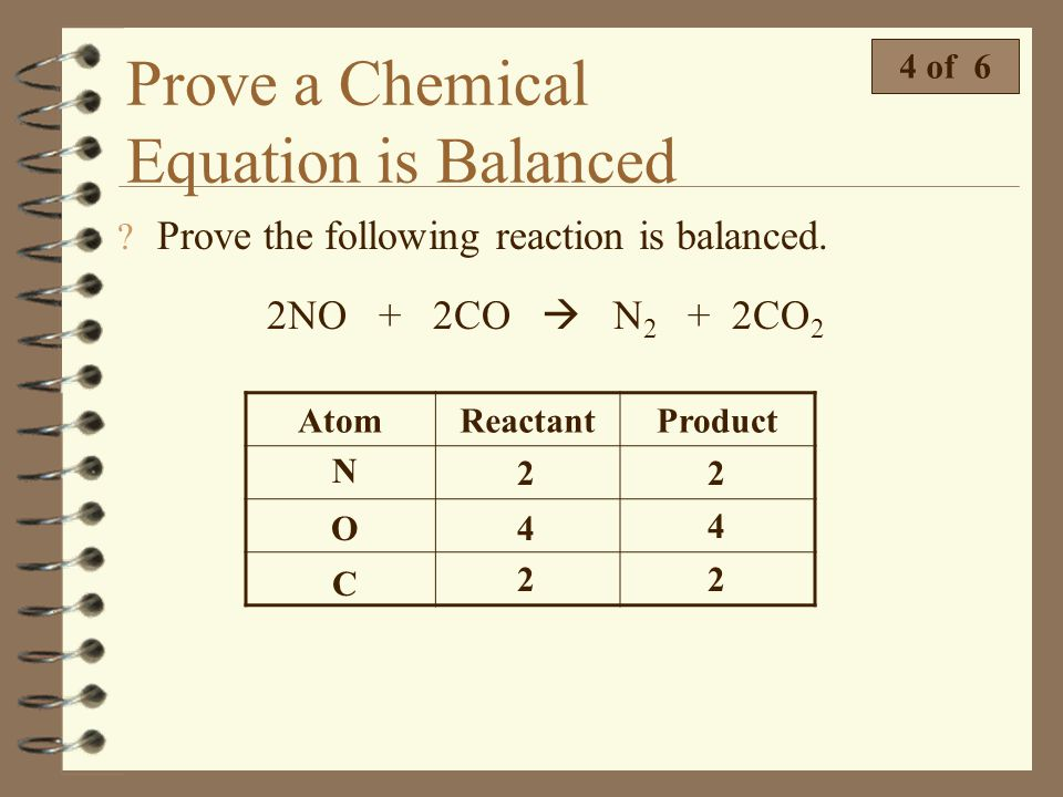 Prove a Chemical Equation is Balanced 3 of 6 4 Prove the equation is balanced. MnO 2 + 4HCl MnCl 2 + Cl 2 + 2H 2 O Remember, a balanced chemical equat