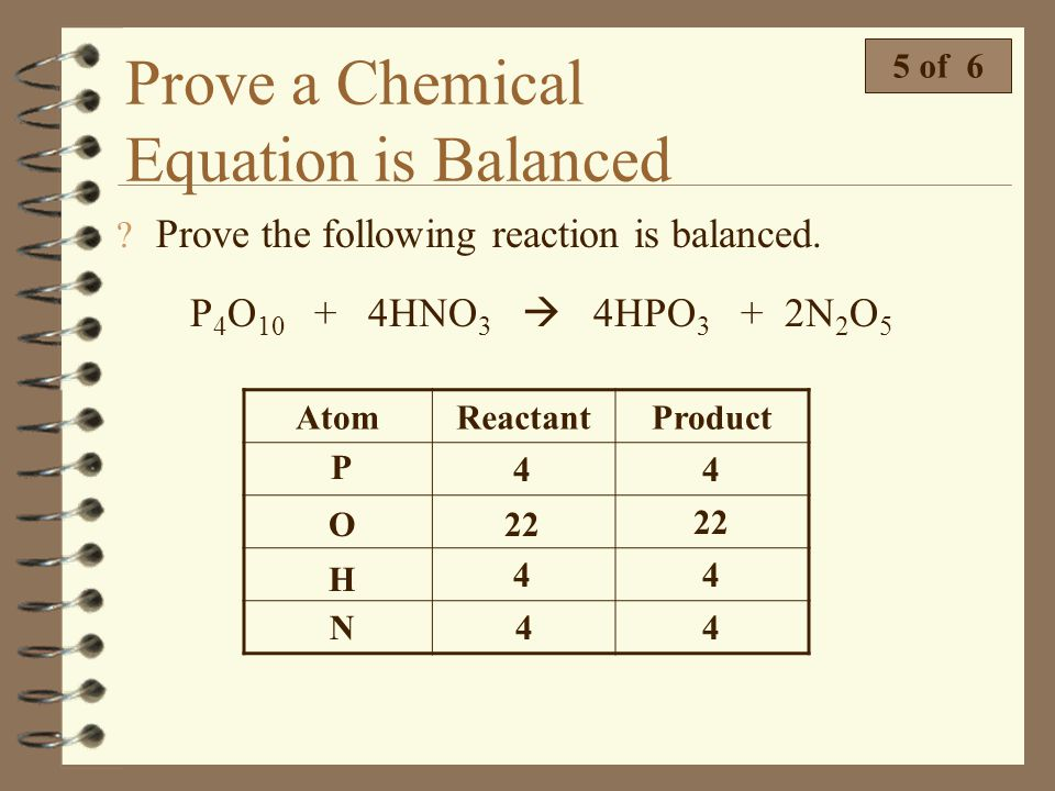 Prove a Chemical Equation is Balanced 4 of 6 Prove the following reaction is balanced. 2NO + 2CO N 2 + 2CO 2 AtomReactantProduct N O C 2 4 2 2 4 2