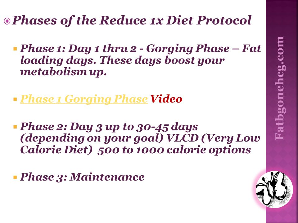 Phases of the Reduce 1x Diet Protocol Phase 1: Day 1 thru 2 - Gorging Phase – Fat loading days. These days boost your metabolism up. Phase 1 Gorging P