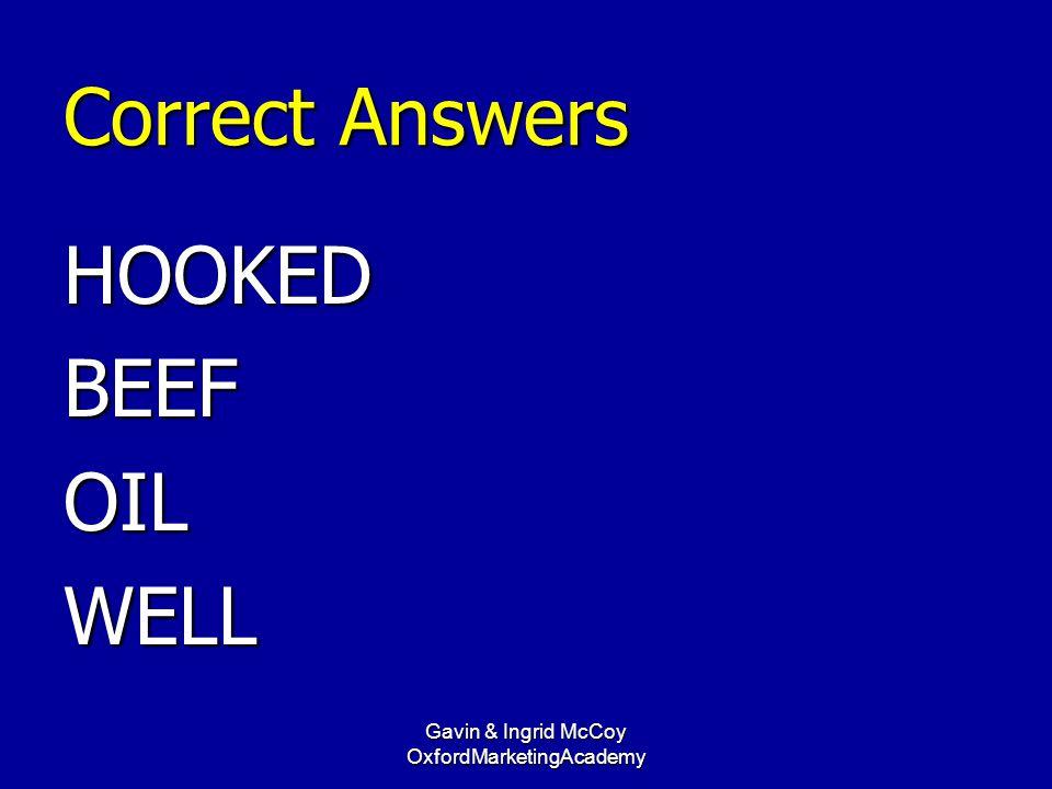 Correct Answers HOOKEDBEEFOILWELL Gavin & Ingrid McCoy OxfordMarketingAcademy
