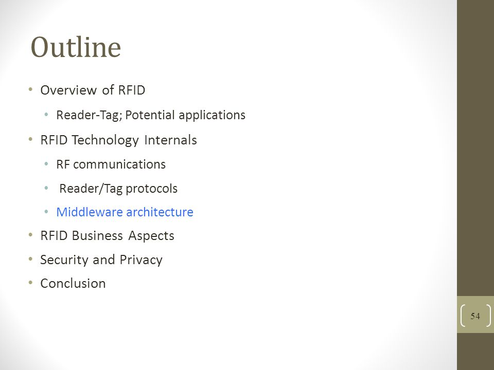 Outline Overview of RFID Reader-Tag; Potential applications RFID Technology Internals RF communications Reader/Tag protocols Middleware architecture RFID Business Aspects Security and Privacy Conclusion 54