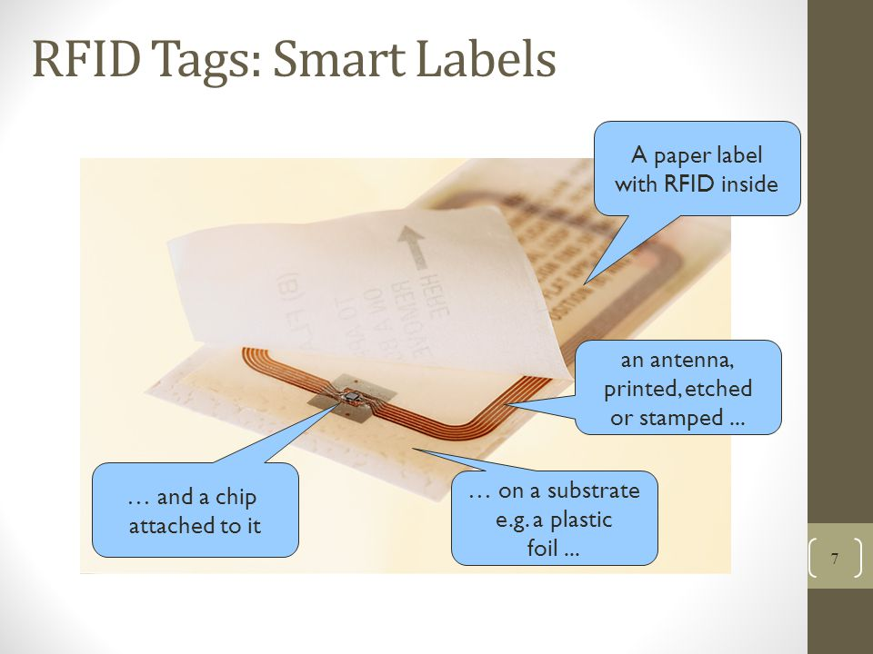 RFID Tags: Smart Labels 7 … and a chip attached to it … on a substrate e.g.