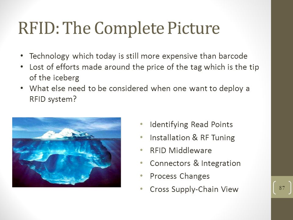RFID: The Complete Picture 87 Identifying Read Points Installation & RF Tuning RFID Middleware Connectors & Integration Process Changes Cross Supply-Chain View Technology which today is still more expensive than barcode Lost of efforts made around the price of the tag which is the tip of the iceberg What else need to be considered when one want to deploy a RFID system?