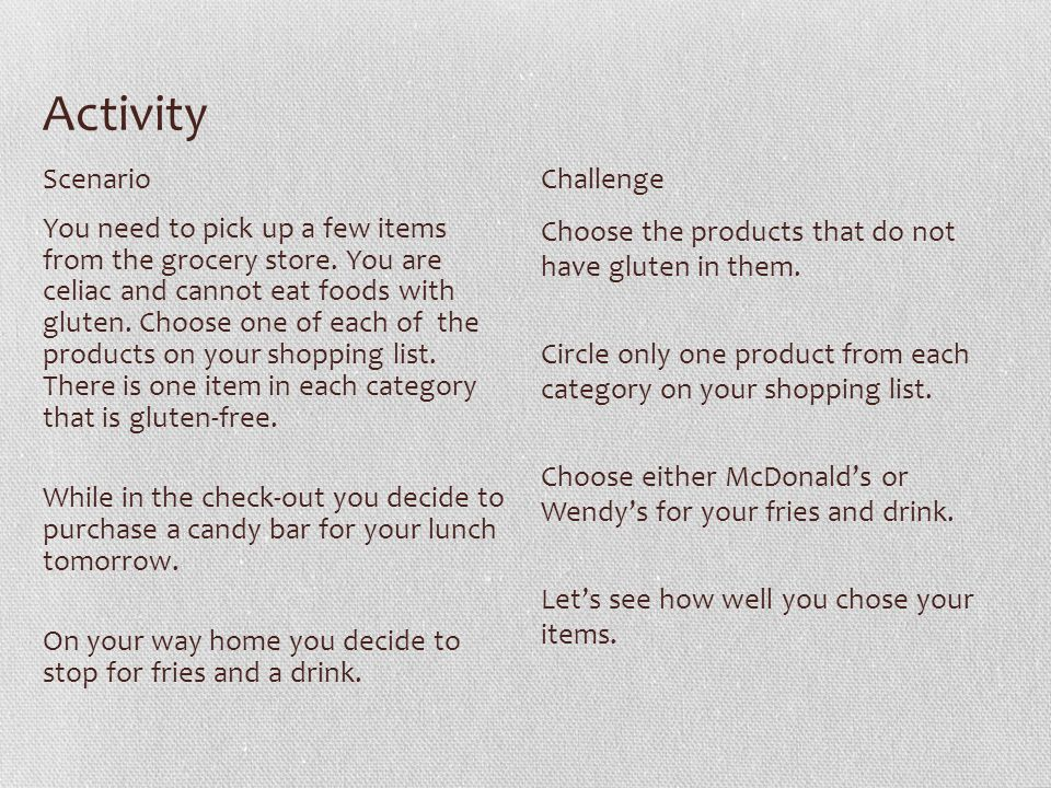 Activity You need to pick up a few items from the grocery store.