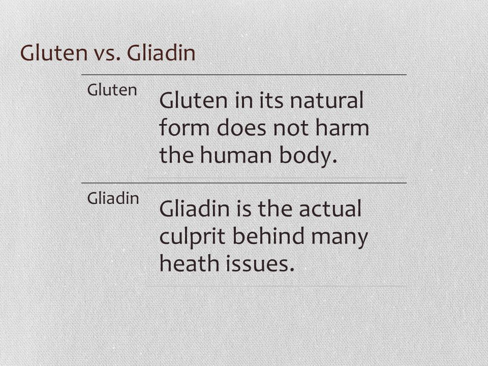 Gluten vs. Gliadin Gluten Gluten in its natural form does not harm the human body.
