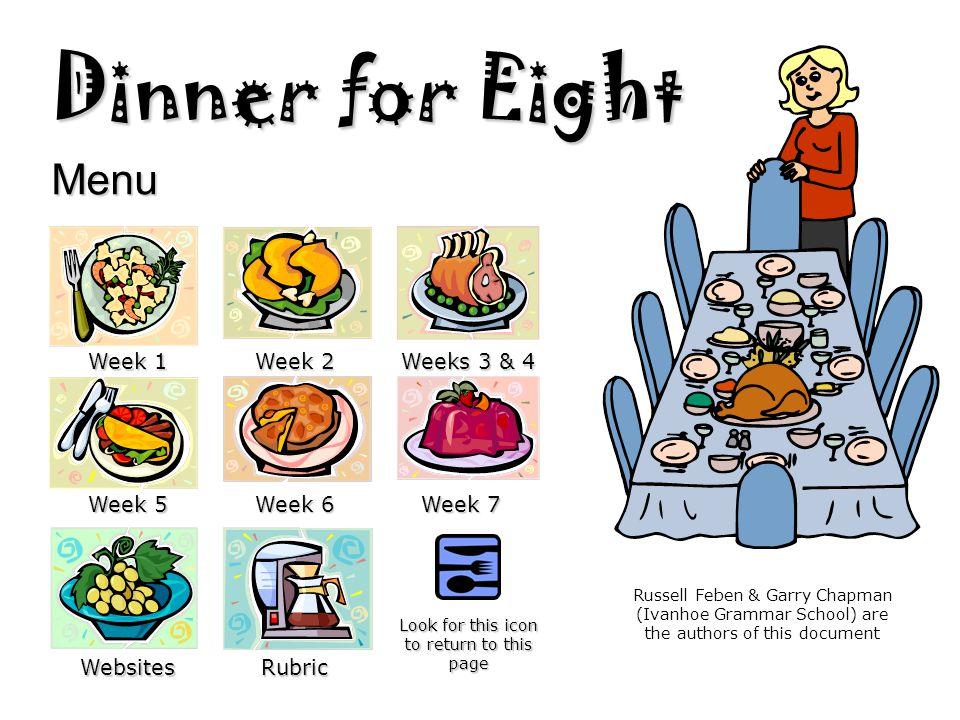 Dinner for Eight Menu Week 1 Week 2 Weeks 3 & 4 Week 5 Week 6 Week 7 WebsitesRubric Look for this icon to return to this page Russell Feben & Garry Ch