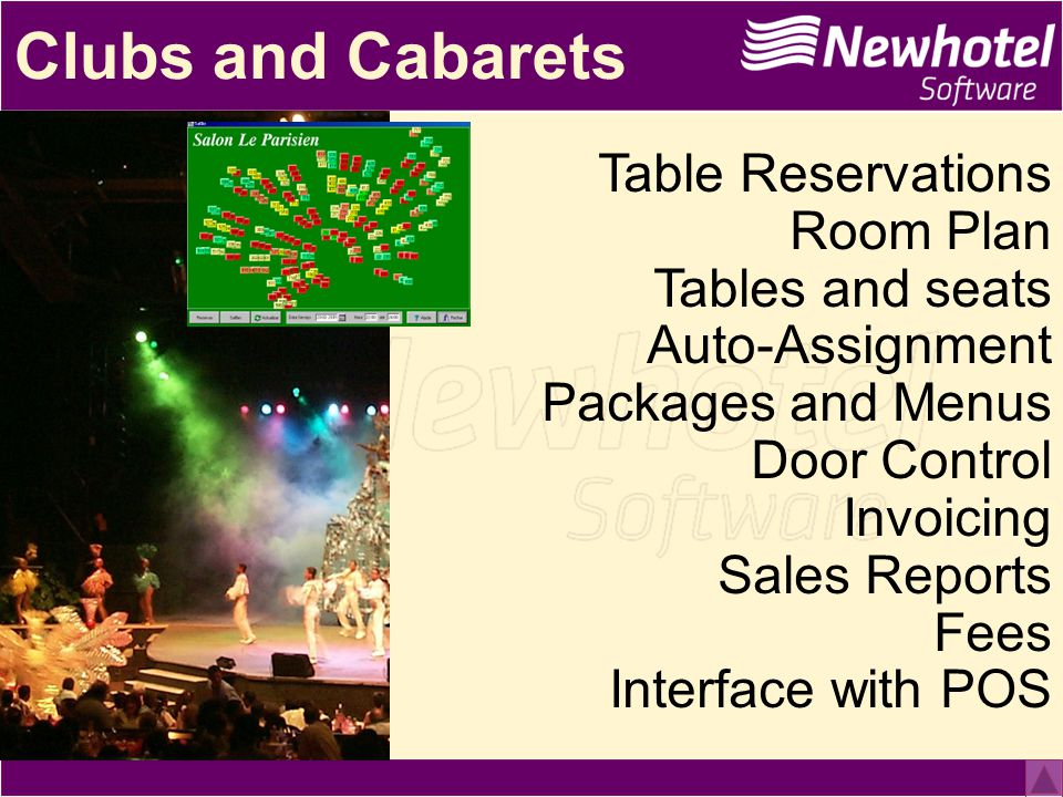 Clubs and Cabarets Table Reservations Room Plan Tables and seats Auto-Assignment Packages and Menus Door Control Invoicing Sales Reports Fees Interface with POS