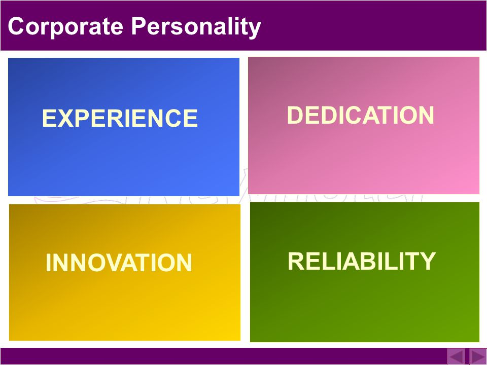 Corporate Personality DEDICATION RELIABILITY INNOVATION EXPERIENCE